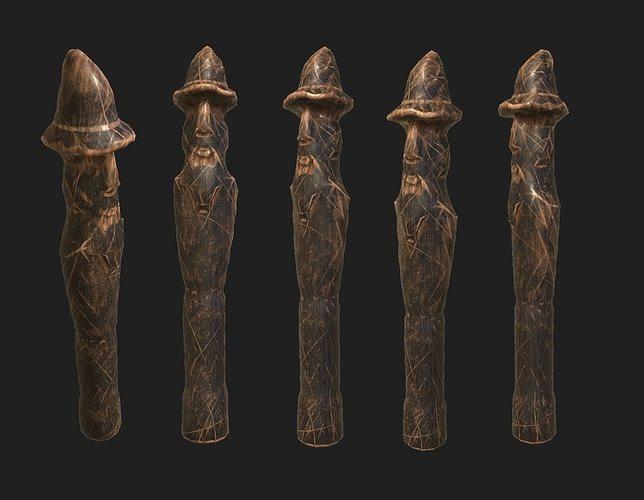 Next Gen AAA Slavic Wooden Medieval Settlement Totem Statue