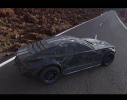 Post-apocalyptic battle-car 3D asset