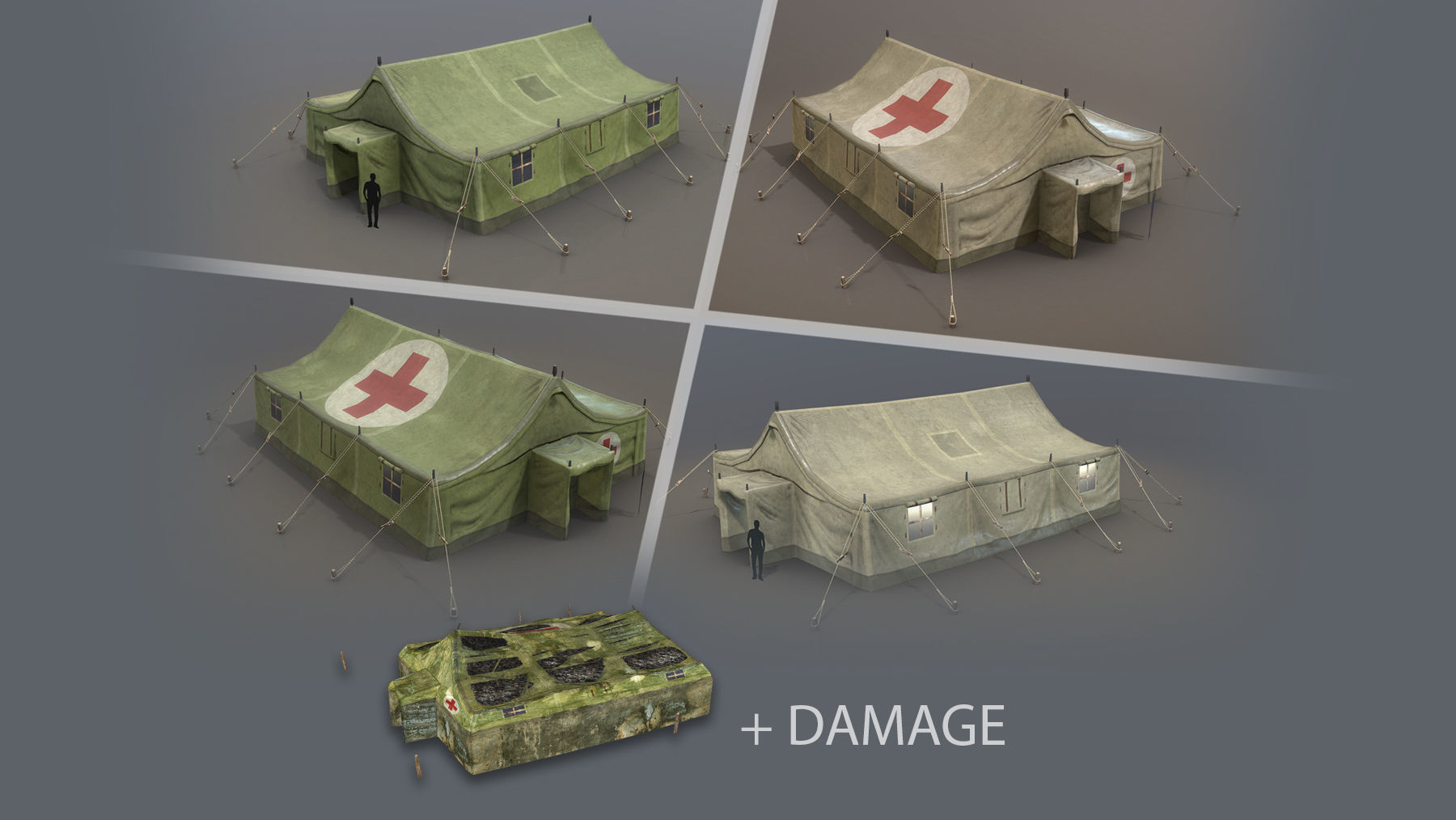Military Tent 01 FourLiveries with Damage