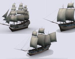 three sailing ship VR / AR ready 3d asset