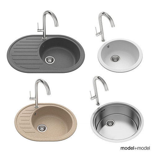 round sinks 3d model max obj fbx mat 1
