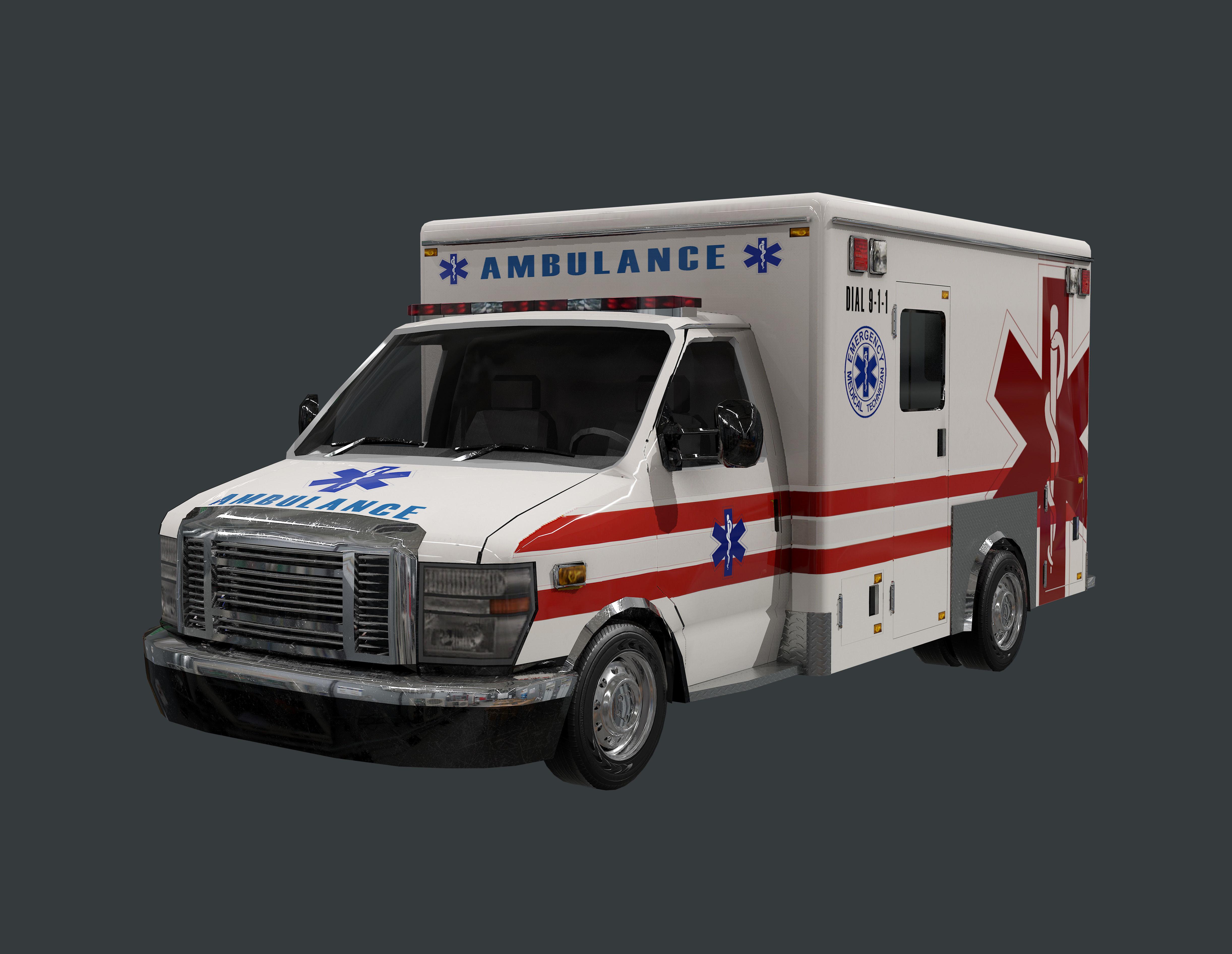 Vehicle Ambulance Rescue Truck Game Ready 05