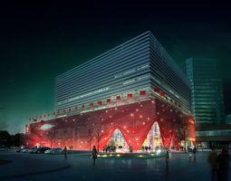 Commercial Plaza 3D model architecture