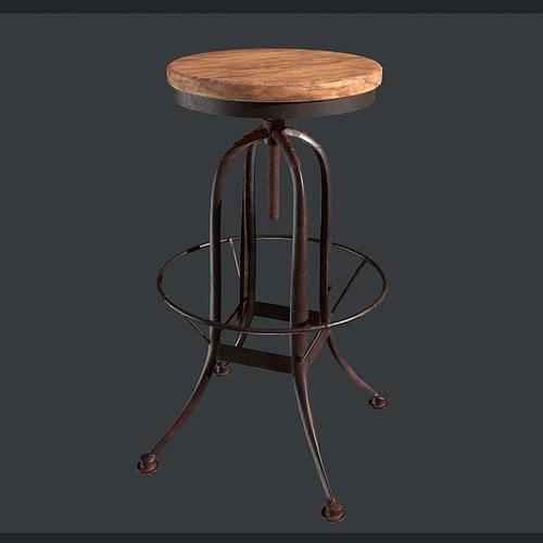 Steampunk Bar stool - VR AR lowpoly Game Ready model
