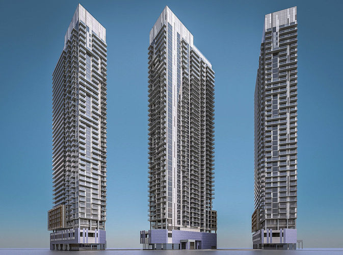 3d model modern high rise residential building in canada for Modern high rise building design