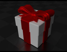 gift box with bow and ribbon 3d printable model