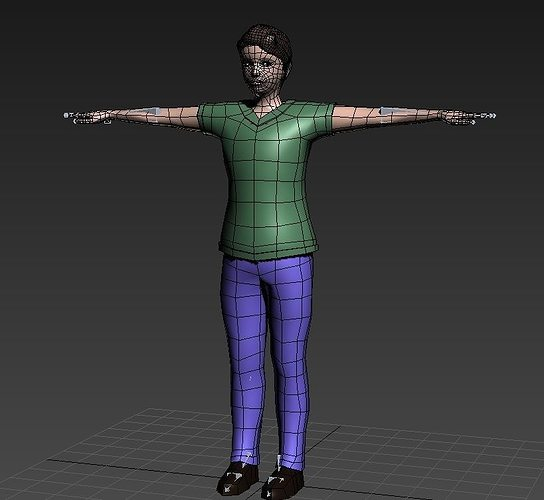 3D Model Rigged Low Polygons Male Character With Clothes