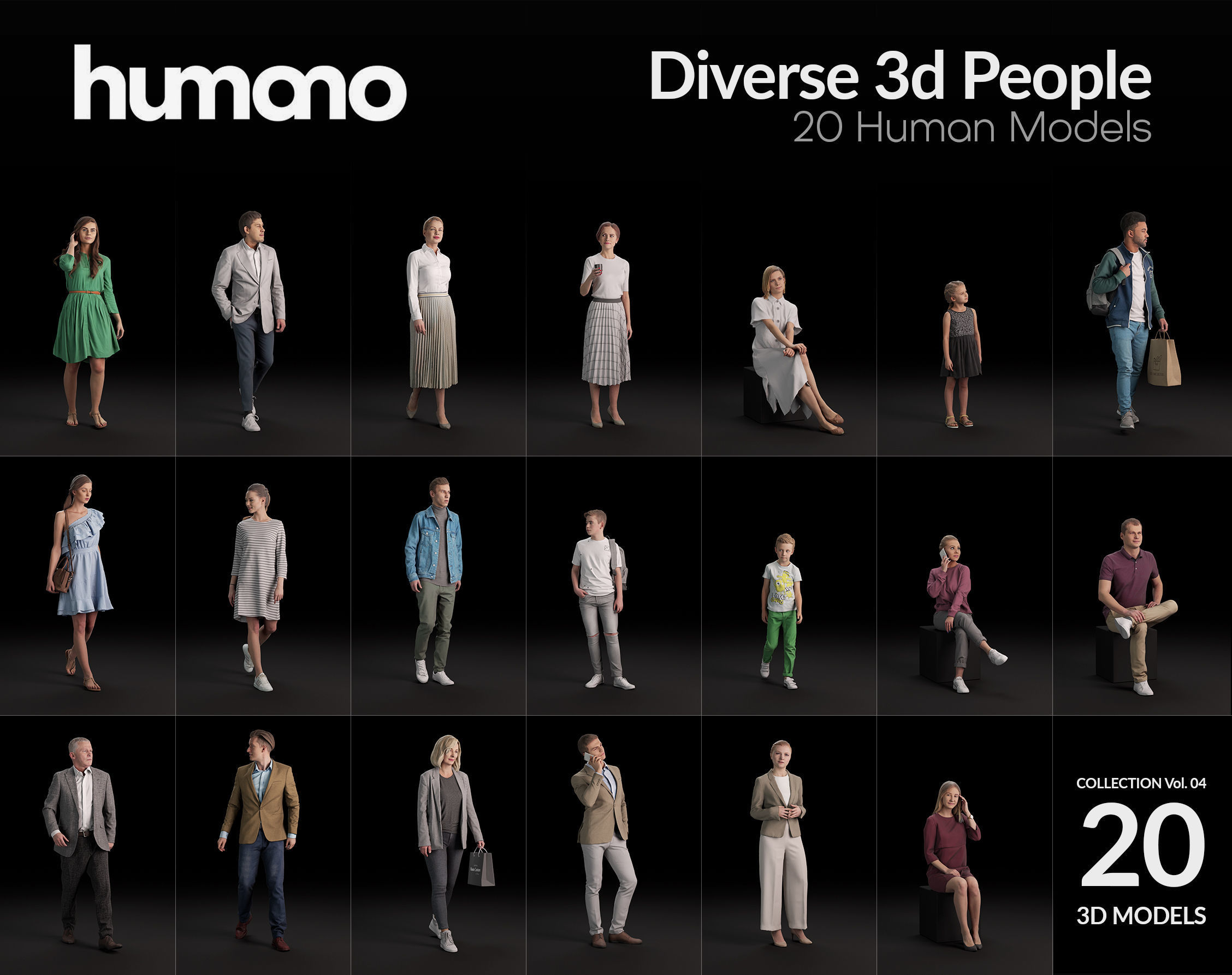 Humano 20-Collection 04 -  DIVERSE PEOPLE - 20x 3D models