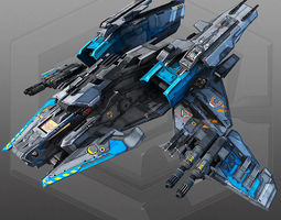 game-ready sci fi bomber x4 3d asset