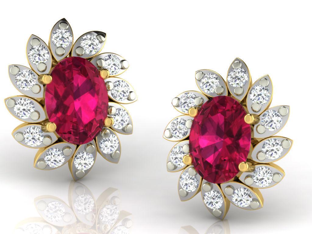 Women earrings 3dm render detail