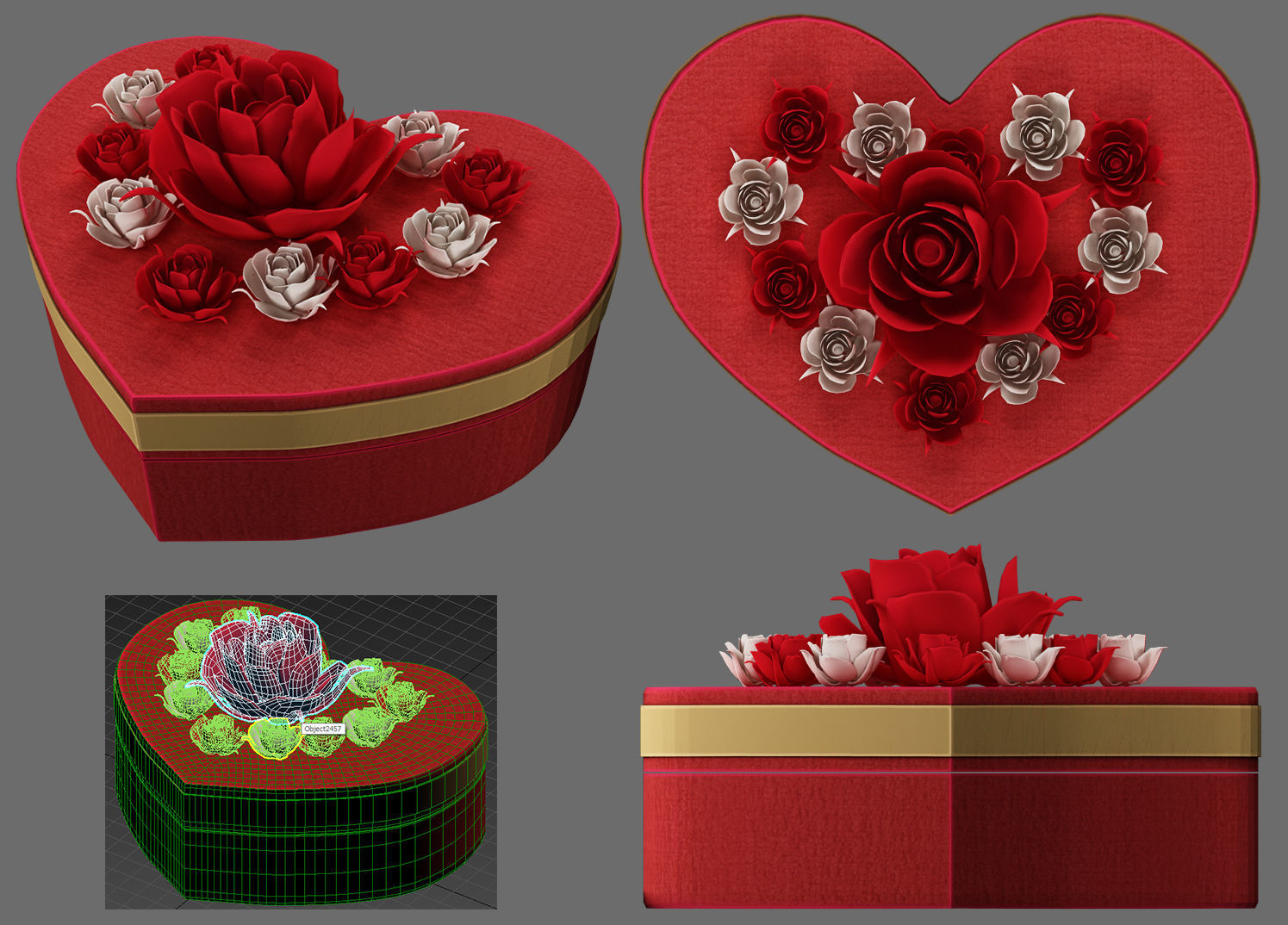 red box heart and flowers