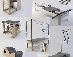 pilates equipment collection 3d model