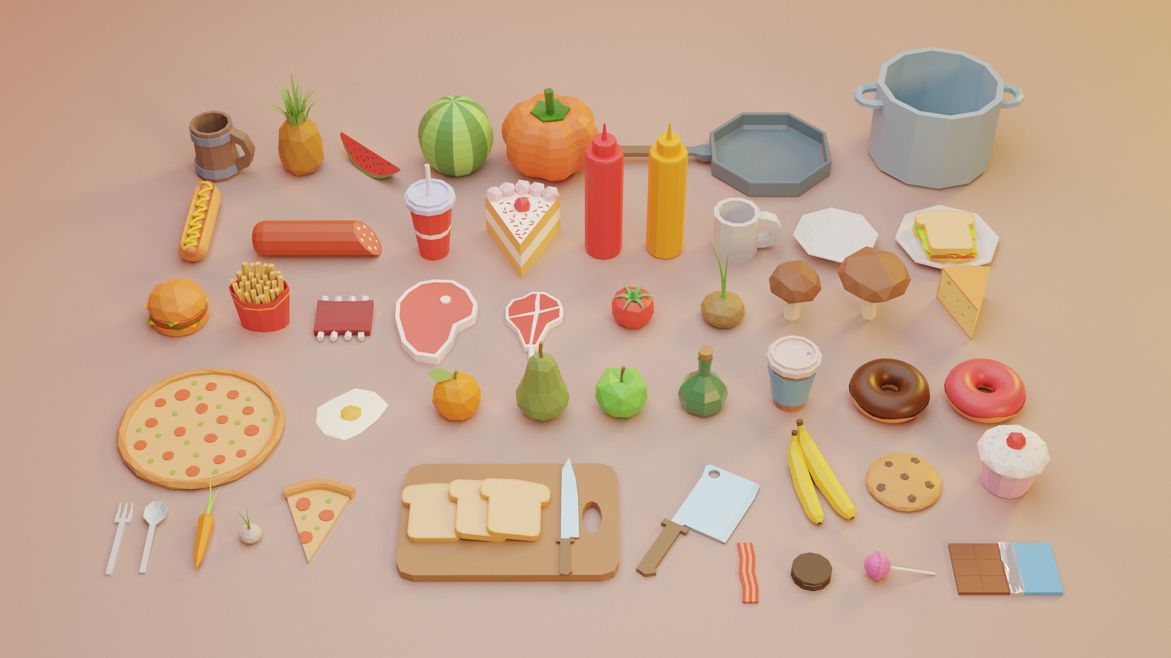 Low Poly Fruits and Vegetables Food Collection