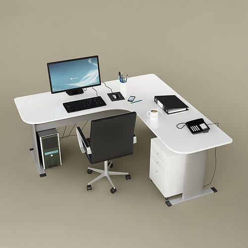 3d Desk Office 02 Cgtrader