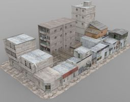 rigged game-ready 3d model shanty town buildings 2 city blocks a b c