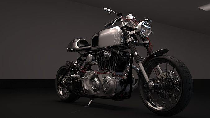 cafer racer chrome motocycle 3d model max obj fbx 1