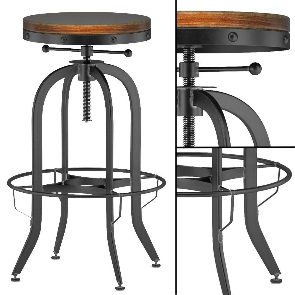 Enjoyable Industrial Vintage Bar Stool Black 3D Model Machost Co Dining Chair Design Ideas Machostcouk