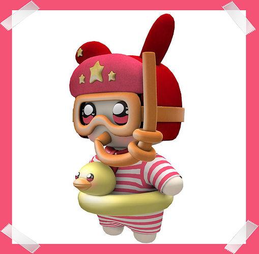 cute-diver-baby-3d-model-low-poly-obj-bl