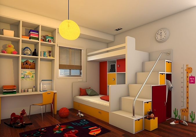 kids bedroom 3d model max 1