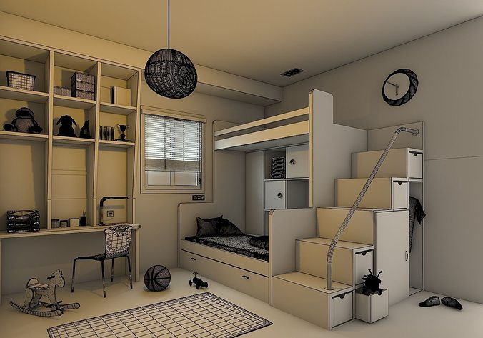 Kids Bedroom 3d Model