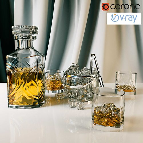 whiskey set with bucket for ice 3d model max obj mtl 3ds fbx 1