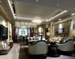 Brownish Modern Living Room 3D model