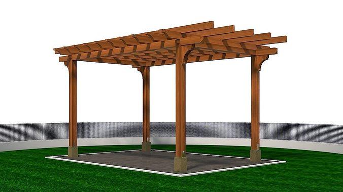 wooden pergola 3d model max 1