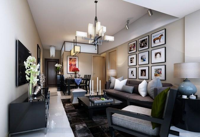 fancy living room 3d model 3d model max 1