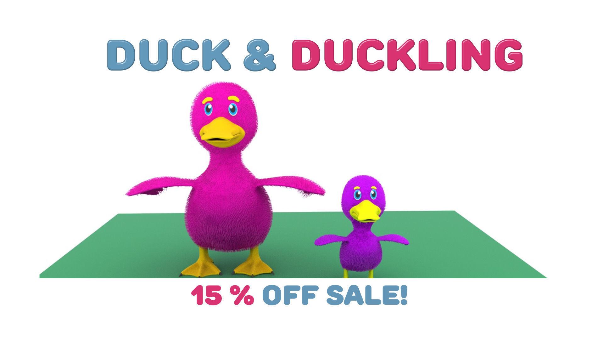 Cartoon Cute Duck Family Rigged 3D models