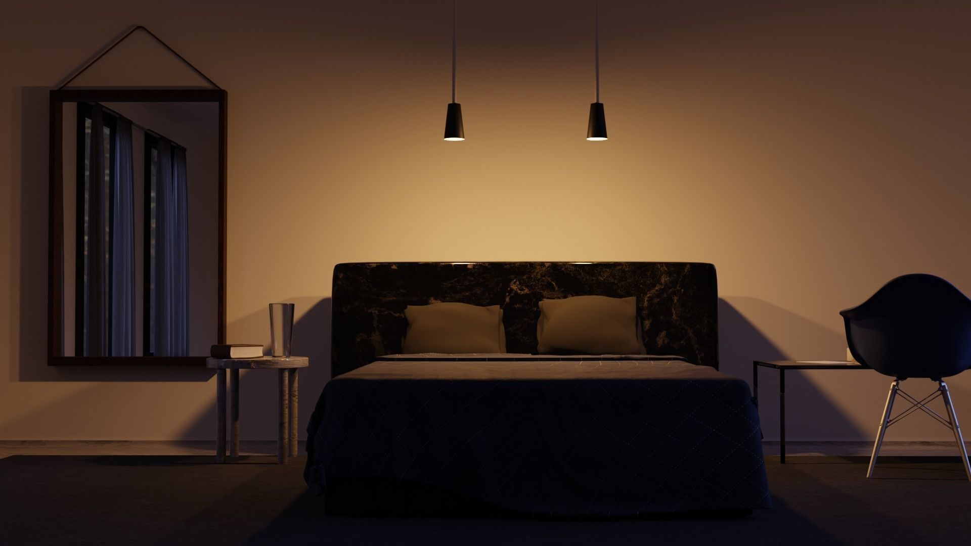 Modern Bedroom Night 4k Textures 3d Cgtrader
