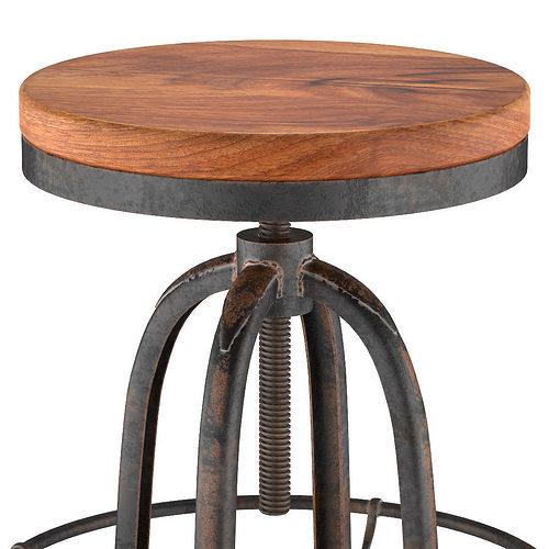 Oleg Loft Iron Base Reclaimed Wood Bar Counter Stool Model Max Obj Mtl Fbx