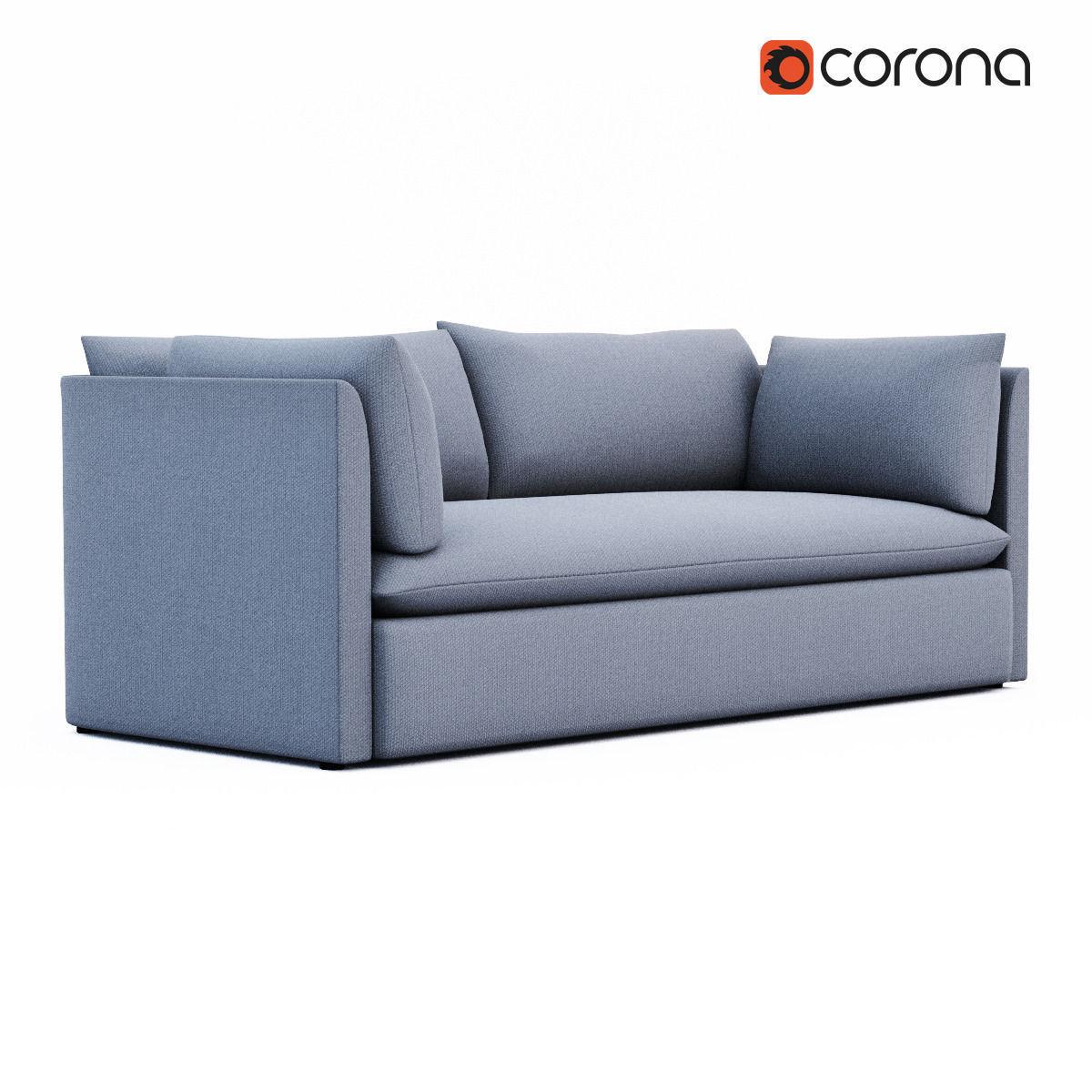 Charming West Elm Shelter Sofa 3d Model Max Obj 3ds Fbx Dxf Dae 1 ...