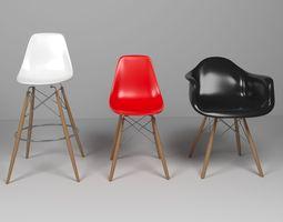 Eames Chairs set 3D model