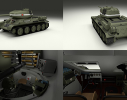 T-34 85 with Interior 3D model