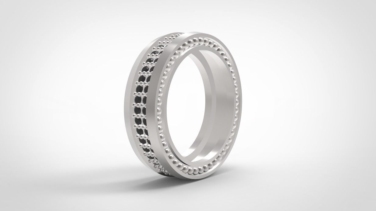 Wedding bands double row with diamonds 3D print model