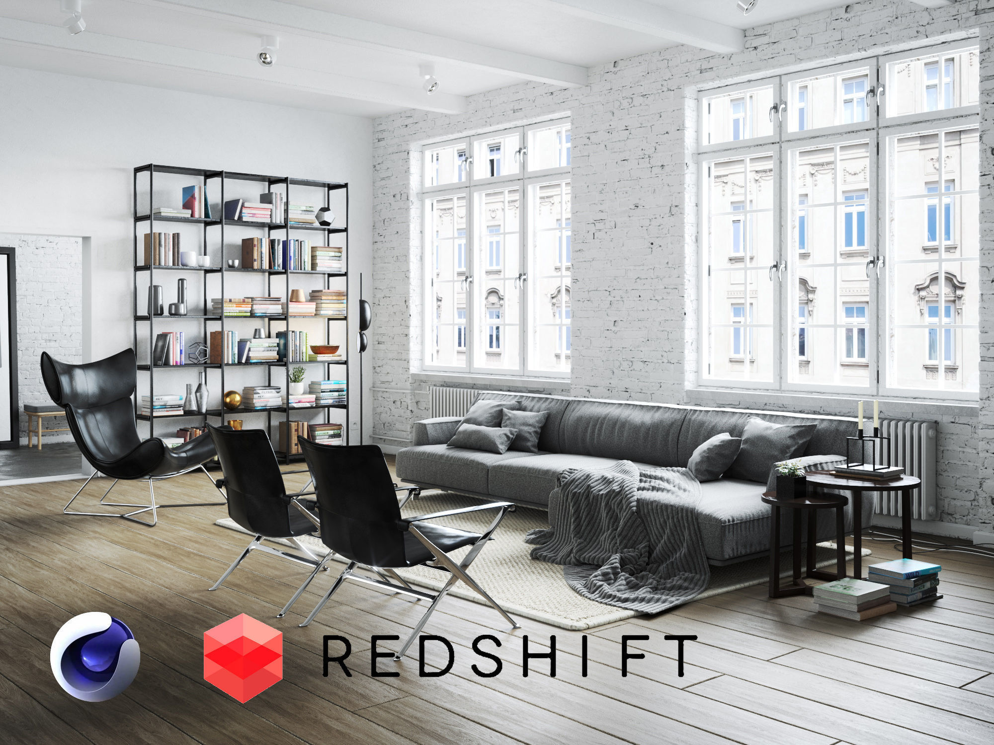 Living Room Interior Scene for Cinema 4D and Redshift
