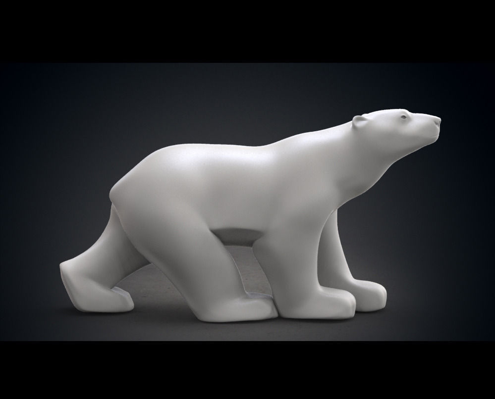 Polar Bear Modern Marble Sculpture