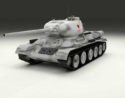 3D model T-34 85 Tank Winter Camo