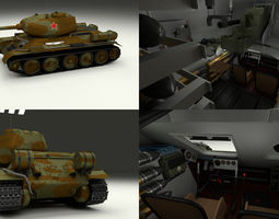 T-34-85 with Interior Camo 3D