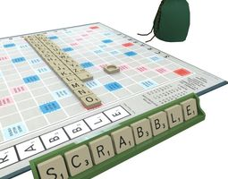 scrabble game game-ready 3d asset