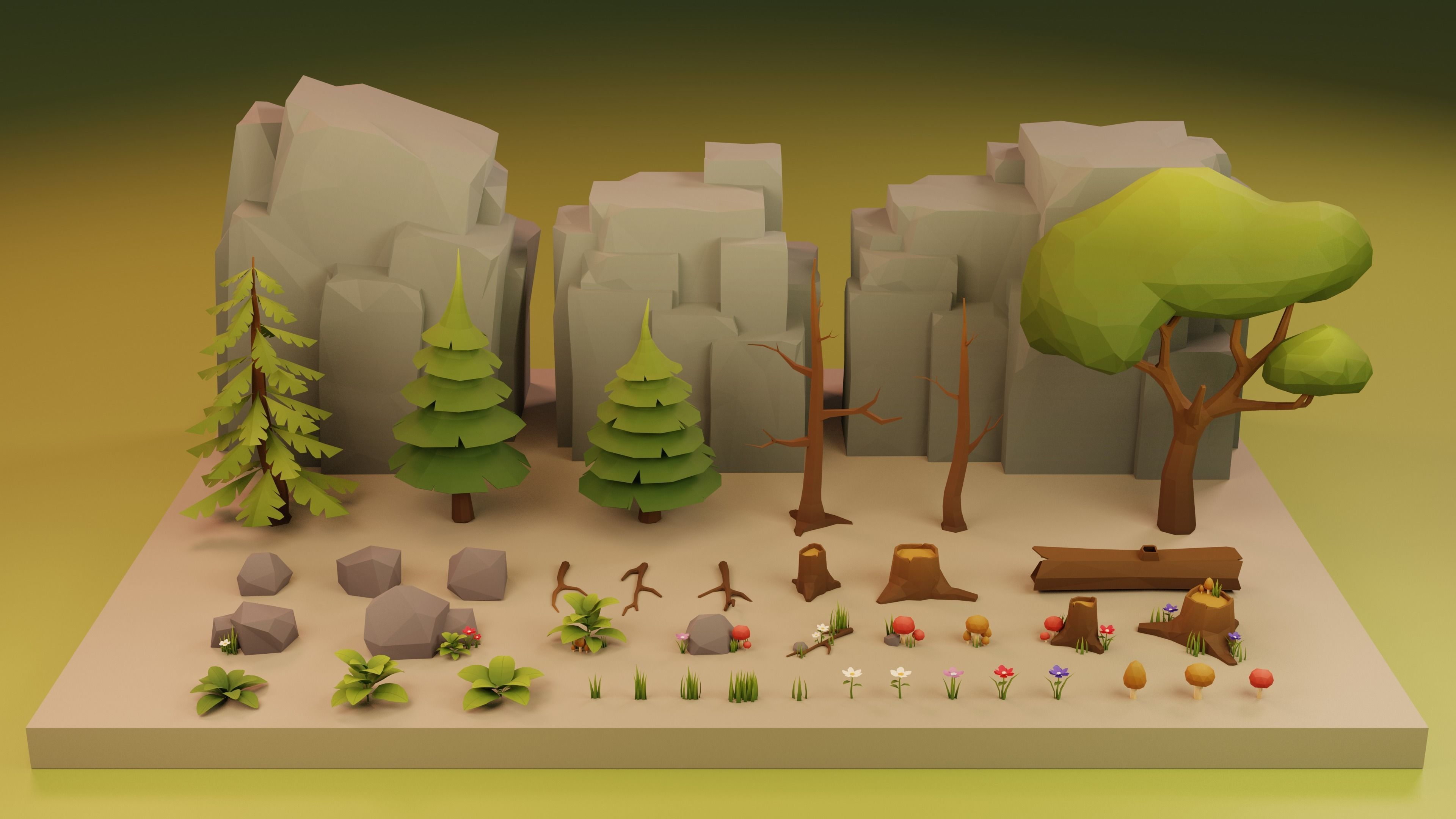 Low Poly Cartoon Trees Grass Plants and Rocks
