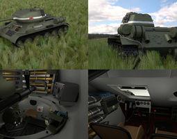 T-34-85 with Interior HDRI 3D