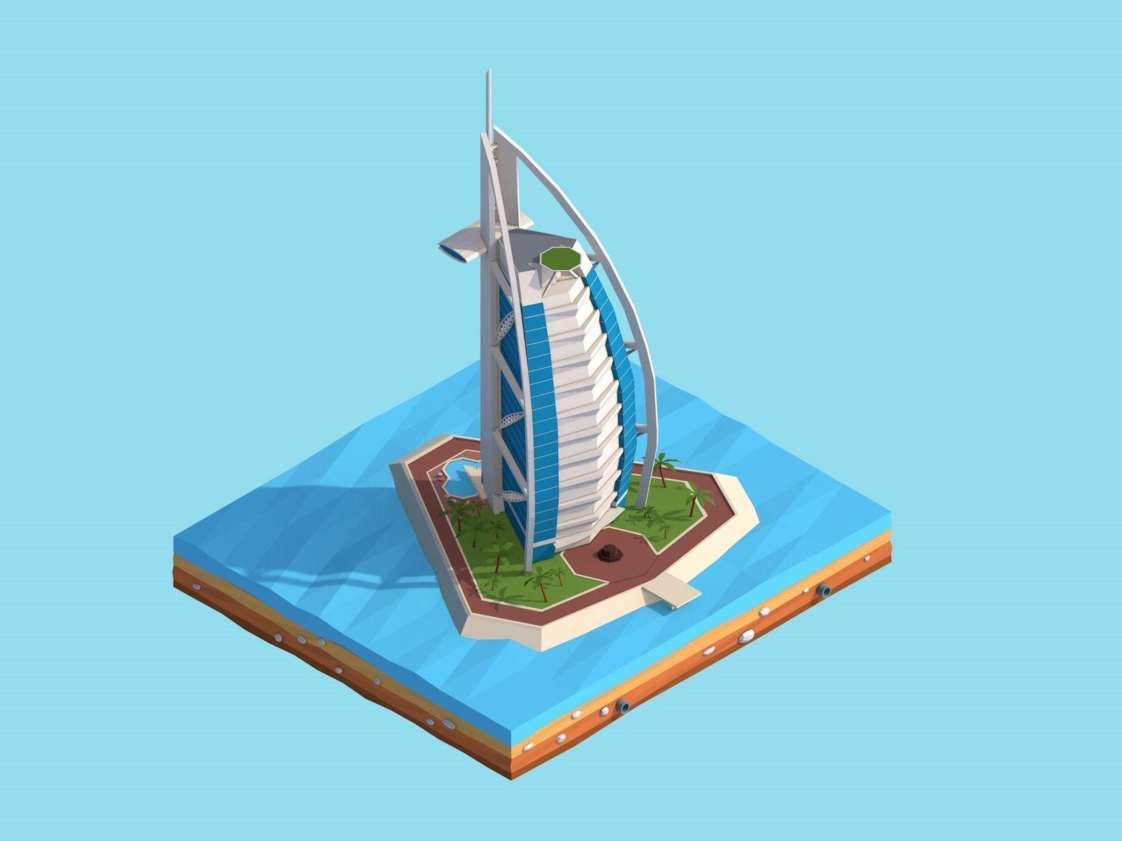 Cartoon Low Poly Burj Al Arab Jumeirah