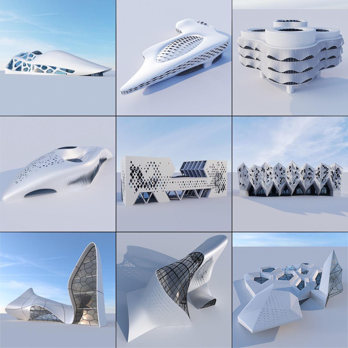Futuristic building collection