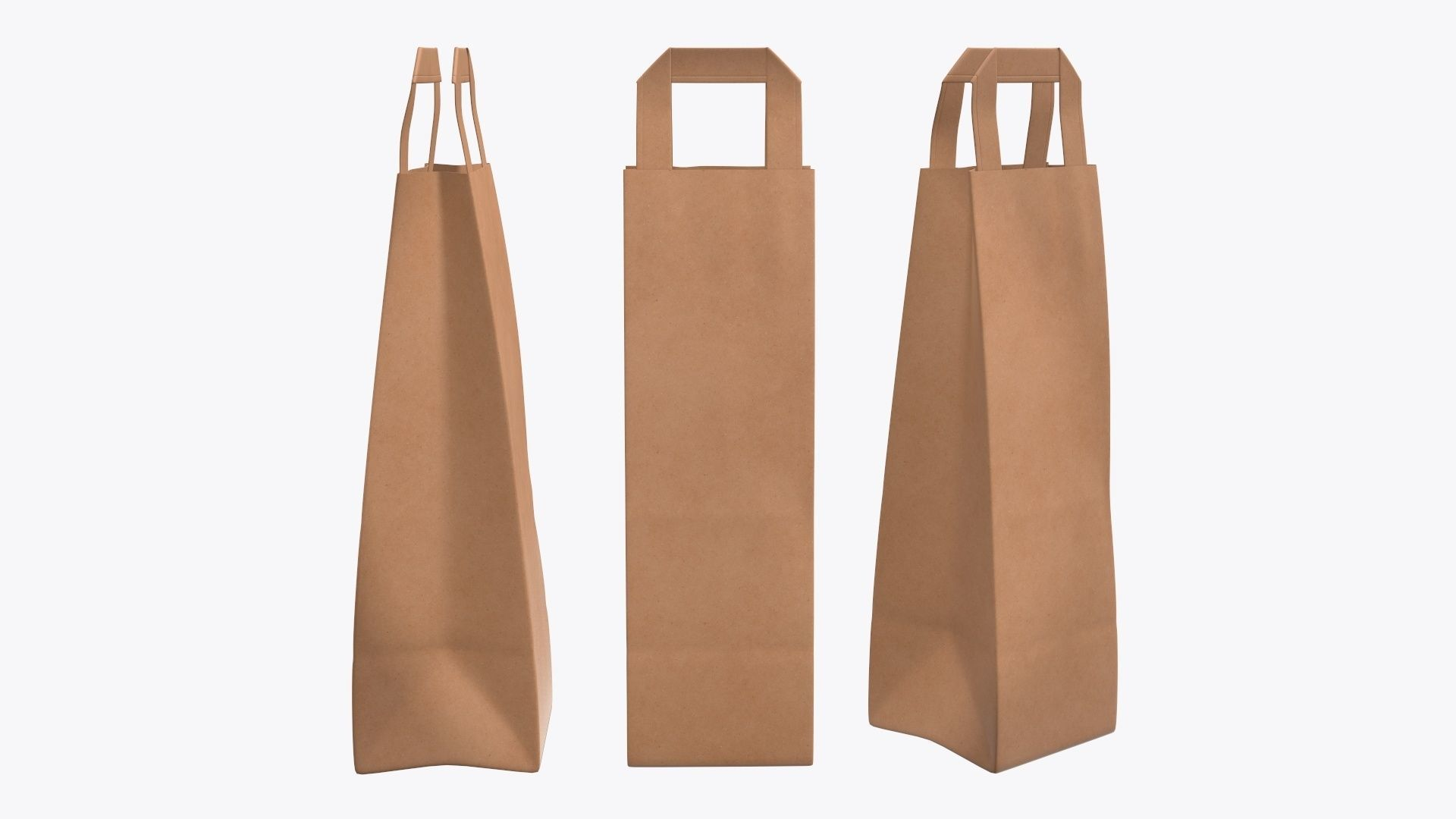 Paper gift food store bag slim with handle