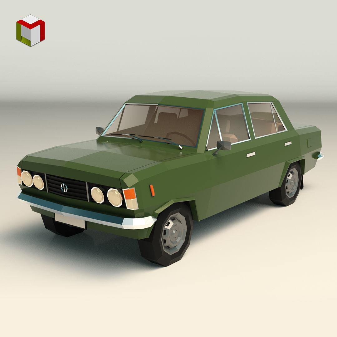Low Poly Sedan Car 11