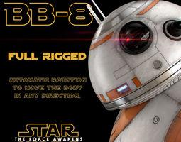 bb-8 star wars droid full rigged 3d model max obj fbx 3dm