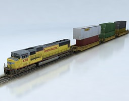 VR / AR ready double stack shipping container train set sd70m 3d asset