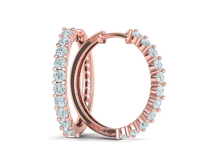 Diamond Hoop Earrings 3dmodel printable