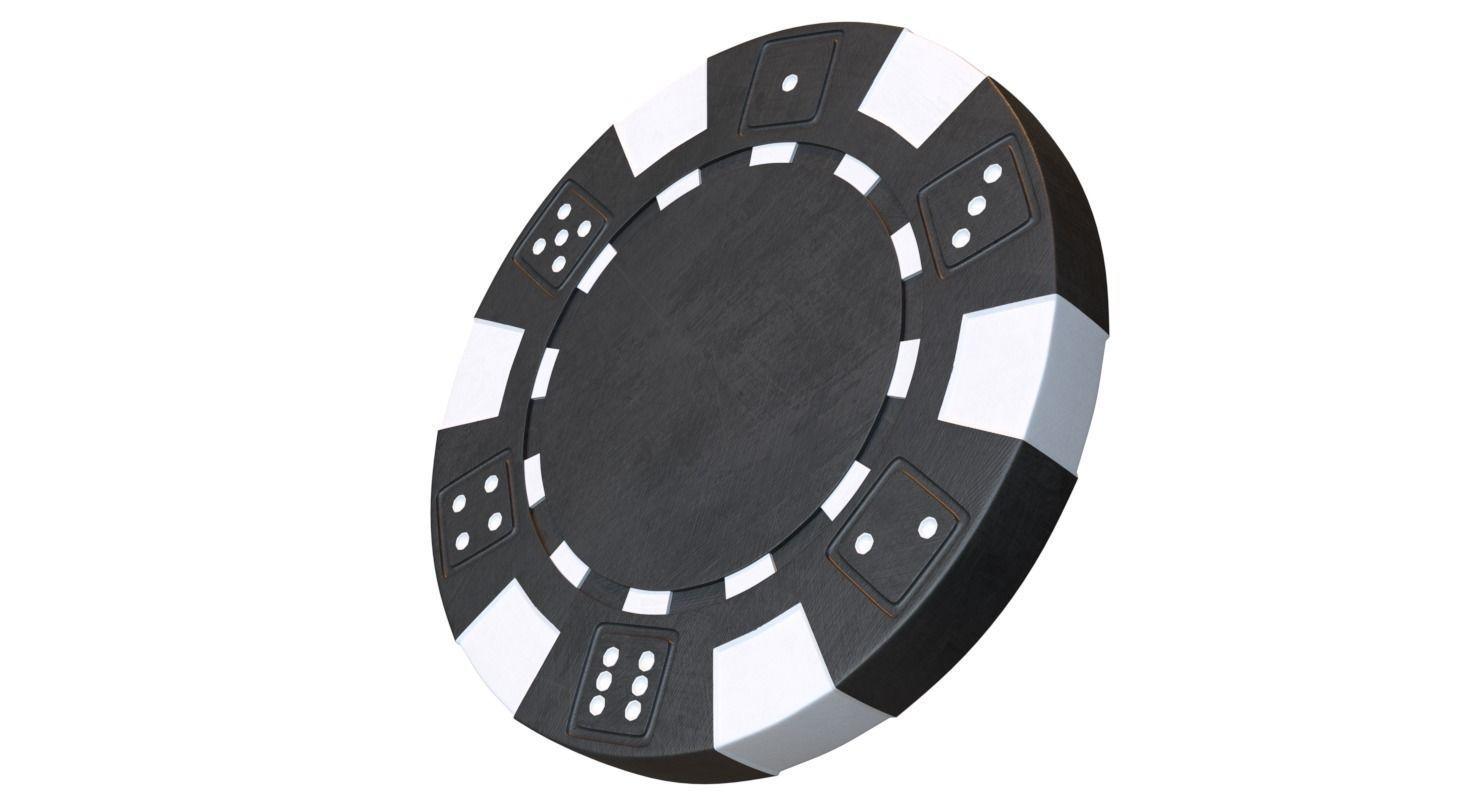 Casino chip 3D model black poker chip